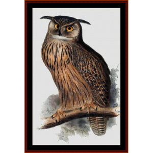 great horned owl - wildlife cross stitch pattern by cross stitch collectibles