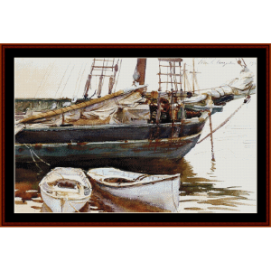 schooner - sargent cross stitch pattern by cross stitch collectibles