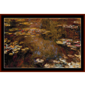 the waterliliy pond iii - monet cross stitch pattern by cross stitch collectibles