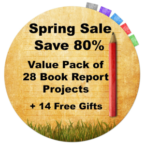 spring 80% off sale:  value pack of 28 book report projects + 14 free gifts