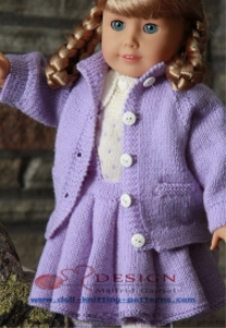 dollknittingpattern 0011d lilly - blouse, skirt, pants, coat and hat-(english)