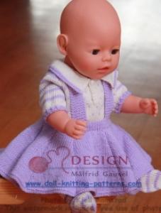 dollknittingpatterns -  0011d lilly - bluse, rock, strumpfhose, jacke und mütze-(deutsch)