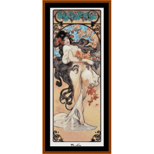 amethyst post - mucha cross stitch pattern by cross stitch collectibles