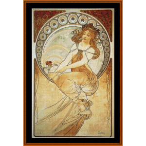painting - mucha cross stitch pattern by cross stitch collectibles