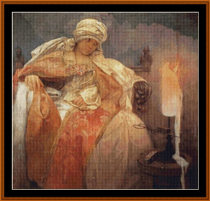woman with burning candle - mucha cross stitch pattern by cross stitch collectibles