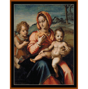 madonna & child w/infant st. john - del sarto cross stitch pattern by cross stitch collectibles