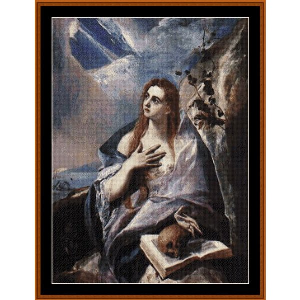 mary magdalene in penitence - el greco cross stitch pattern by cross stitch collectibles
