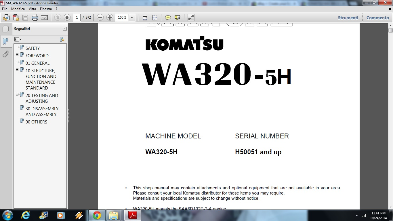 DOWNLOAD Komatsu WA320-5H Avance Wheel Loader Service Repair Workshop Manual  | Documents and Forms | Building and Construction
