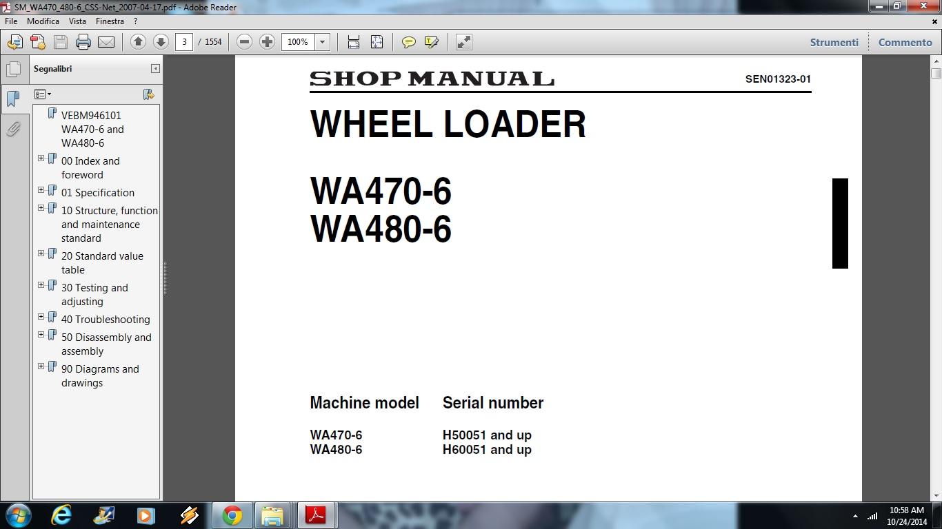 Komatsu WA470-6, WA480-6 Wheel Loader Service Repair Workshop Manual  DOWNLOAD (SN: WA470-6- H50051 and up, WA480-6- H60051 and up)   Documents  and Forms ...