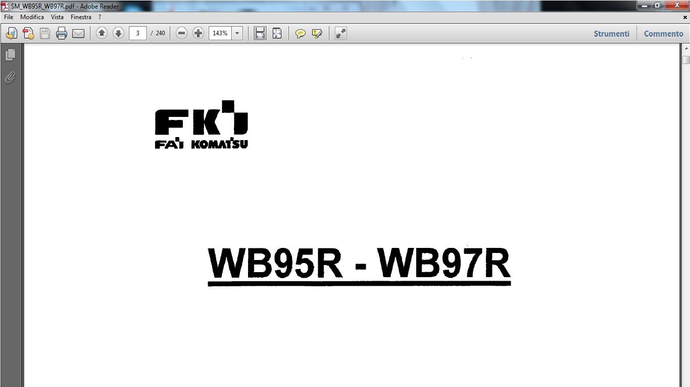 Fai Komatsu WB95R WB97R Backhoe-Loader Service Repair Workshop Manual  Download