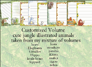 "printable stationery designs: custom stationery selection volume ""cute jungle illustrated animals"""