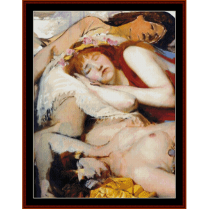 Exhausted Maenides after the Dance - Alma Tadema cross stitch pattern by Cross Stitch Collectibles | Crafting | Cross-Stitch | Wall Hangings