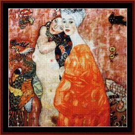 le amiche - klimt cross stitch pattern by cross stitch collectibles