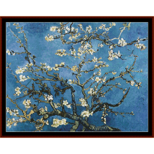 branches with almond blossoms, postersize - van gogh cross stitch download