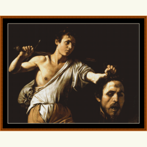 david and goliath - caravaggio cross stitch pattern by cross stitch collectibles