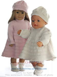 DollKnittingPatterns-0127D ISA LOTTE - Kjole, Lue, Truse og Sokker -(Norsk)   Crafting   Knitting   Other
