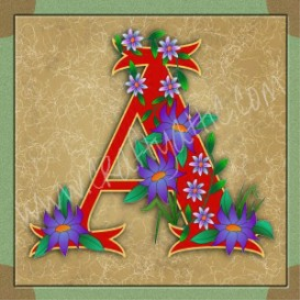 illuminated letter a embroiderers background