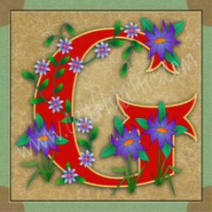 illuminated letter g embroiderers background