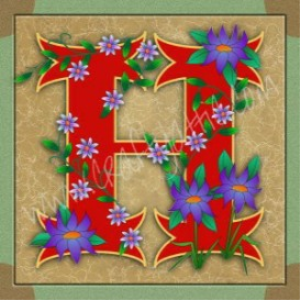 illuminated letter h embroiderers background