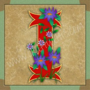 illuminated letter i embroiderers background