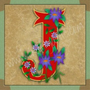 illuminated letter j embroiderers background