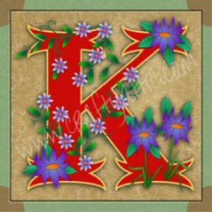 illuminated letter k embroiderers background