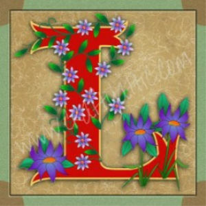 illuminated letter l embroiderers background