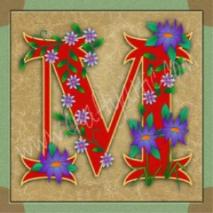 illuminated letter m embroiderers background
