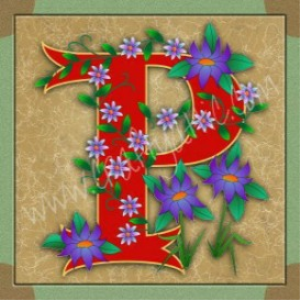 illuminated letter p embroiderers background