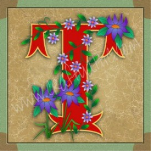 illuminated letter t embroiderers background