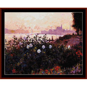 flowers by the riverbank - monet cross stitch pattern by cross stitch collectibles