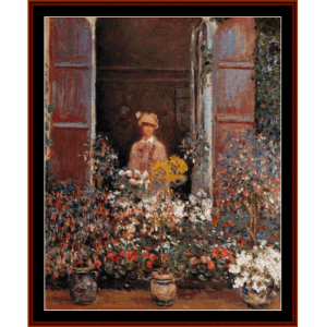 camille at the window - monet cross stitch pattern by cross stitch collectibles