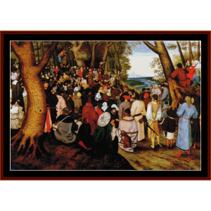 st. john the baptist preaching - bruegel cross stitch pattern by cross stitch collectibles
