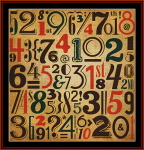 abstract vintage numbers cross stitch pattern by cross stitch collectibles