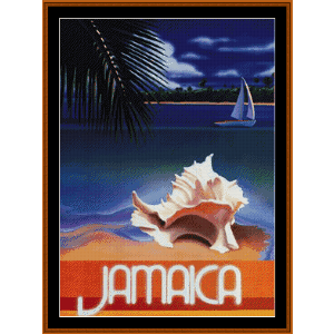 jamaica - vintage poster cross stitch pattern by cross stitch collectibles