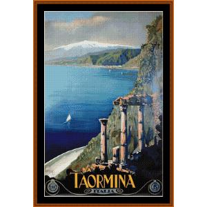 Taormina - Vintage Poster cross stitch pattern by Cross Stitch Collectibles | Crafting | Cross-Stitch | Wall Hangings