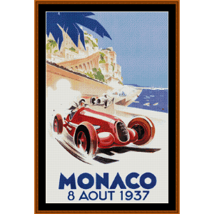 Monaco - Vintage poster cross stitch pattern by Cross Stitch Collectibles | Crafting | Cross-Stitch | Wall Hangings