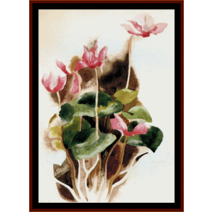 pink cyclamen - demuth cross stitch pattern by cross stitch collectibles