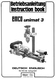 emco unimat 3 lathe parts & instruction manual