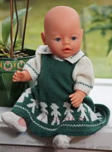 dollknittingpatterns 0012d kari - selskjørt, bluse, sokker og truse -(norsk)