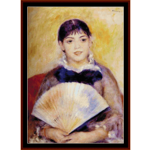 girl with fan - renoir cross stitch pattern by cross stitch collectibles