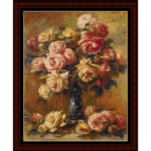 vase of roses postersize - renoir cross stitch pattern by cross stitch collectibles