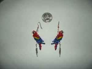 peyote delica seed bead dangle earring pattern parrot-436