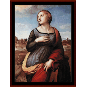 st. catherine of alexandria - raphael cross stitch pattern by cross stitch collectibles
