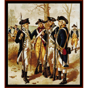 infantry - continental army - american history  cross stitch pattern by cross stitch collectibles