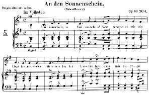 an den sonnenschein op.36 no.4, low voice in g major,  r. schumann. c.f. peters.