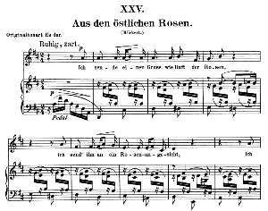 aus den östlichen rosen op.25 no.25, low voice in e flat major,  r. schumann (myrten). c.f. peters.