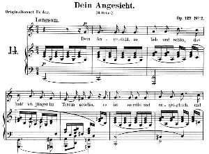 dein angesicht op.127 no.2, low voice in c major,  r. schumann. c.f. peters.