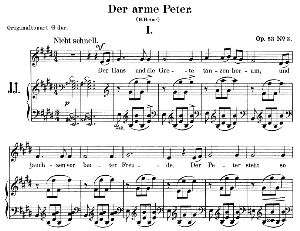 der arme peter op.53 no.3, low voice in e major, r. schumann. c.f. peters.