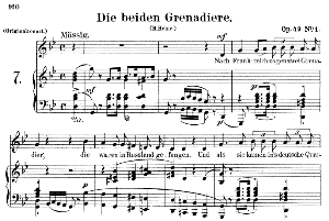 die beiden grenadiere op.49 no.1, low voice in g minor,  r. schumann. c.f. peters.